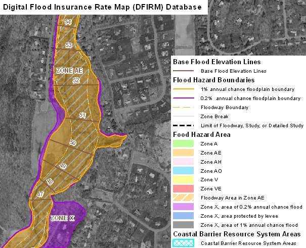 Digital Flood Insurance Map DFIRM Database For Connecticut Flood - Zone x on fema flood map